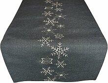 khevga Küchentextilien - Tischläufer Weihnachten grau silber 40 x 140 Schneeflocken