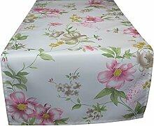 khevga Küchentextilien - Tischläufer weiß Blumen Frühling Sommer 40 x 160
