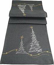 khevga Tischläufer Weihnachten modern in Grau mit