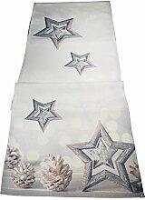 khevga Tischläufer Weihnachten modern silber grau