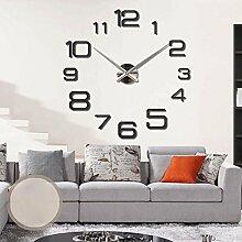 KHSKX Acrylspiegel Wanduhr, Kunst, DIY Uhr, stilvolles Ambiente-Uhren, Geschenke, Anhänger, Wohnzimmer, Schlafzimmer, Studie, Kinder Hobbys , black