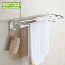 KHSKX Aluminium Handtuchhalter Raum Doppelzimmer Badezimmer Badezimmer accessoires badezimmer Handtuchhalter mit Haken, 600 mm