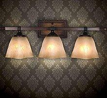 KHSKX Amerikanische gemacht ländlichen alten Wohnzimmer Dreifachwand, europäisch anmutende Schlafzimmer Spiegel Lampe, dekorative Lampen