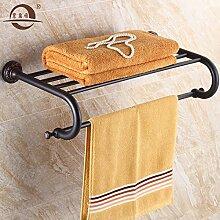 KHSKX Antik schwarz Handtuchhalter Stil Badezimmer Badezimmer Handtuchhalter Regal bad Anhänger 620*290mm