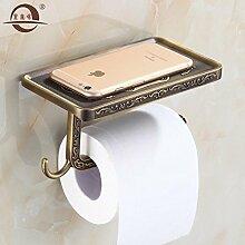 KHSKX Antike falten Qing bronze Handtuchhalter, Handtuchhalter bad Toilettenpapierhalter, europäischen Stil Badezimmer Badezimmer Doppel Glas Regal wc Handtuchring , ich
