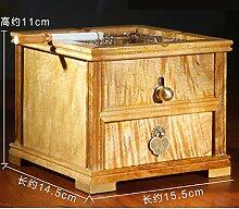 KHSKX Aschenbecher aus Mahagoni, Ebenholz Porzellan Zaun, kreative feste Holz Keramik Aschenbecher, Retro-Aschenbecher Dekoration,E