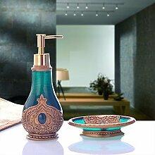 KHSKX Badezimmer mit Bad und kreative europäische Stil waschen Handdesinfektionsmittel Flaschen von Soap Box 2 Stück Bad Accessoires dekorative Ornamente