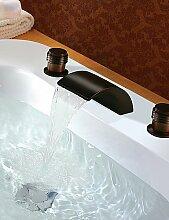 khskx Deck montieren oil-rubbed Bronze-Finish Wasserfall Waschbecken Wasserhahn