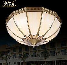 KHSKX Deckenleuchte,4 kontinentalen Kupfer Lampe Schlafzimmer Studie Deckenleuchten American Löten Balkon Gang Leuchtlampen 450mm