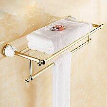 KHSKX Diamond Racks von vergoldeten Accessoires Badezimmer Badezimmer Handtuchhalter Handtuchhalter Stil Kupfer Metall Anhänger