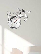 KHSKX DIY Aufkleber Uhr Wandspiegel, Wohnzimmer Wanduhren, personalisierte Uhren, Spiegel Wandsticker Wand Uhren, Geschenke, Haus, Wohnzimmer, Schlafzimmer , Silver