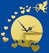 KHSKX DIY kreative Mute wall Clock, Spiegel Mode Wanduhr Aufkleber Wand, lebenden Herzform 3D dekorative Uhren , Golden