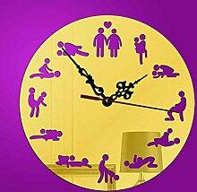 KHSKX DIY kreative Wanduhren, Wanduhr erotische Muster Yakeli Spiegel, europäische Muster 3D Uhr hängen , Golden