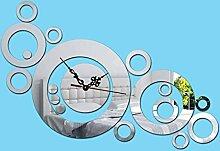 KHSKX DIY Mode Wanduhren, Acryl 3D Uhr an der Wand, Wohnzimmer Verschönerung stumm kreative Heimat Spiegel Uhr , Silver