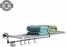 KHSKX Edelstahl Badezimmer Badezimmer Handtuchhalter Regal hardware Länge Messing Handtuchhalter Bad zweifach klappbare 400/600/800mm , Länge 80cm.