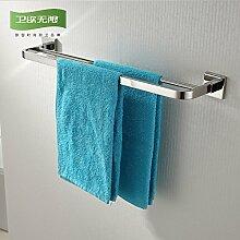 KHSKX Edelstahl Handtuchhalter bad accessoires badezimmer Doppel Handtuchhalter Handtuchhalter Regal 600*130mm