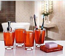 KHSKX Einfach Acryl Badezimmer Suite-Set der fünf kontinentalen Bad Wash kit , Orange