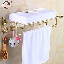 KHSKX Europäische falten Golden Handtuchhalter Handtuchhalter Bad WC amerikanische Regal 600*250*150mm