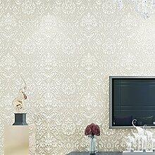 KHSKX Europäische Vliestapete einfache Schlafzimmer/Wohnzimmer 3D Beflockung bestreut gold Tapete TV Wand Hintergrundpapier 10 * 053 m D