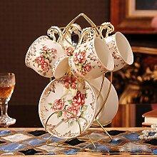 KHSKX Europäischen Kaffeetasse set, High-End-kreative Porzellan Keramik Kaffeetasse und Untertasse, Tee Tasse Tee am Nachmittag mit Eisen stand