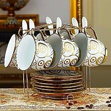 KHSKX europäischen keramik - tasse kaffee, kreative bone china kaffeetasse mit löffel regal 6 stück,d