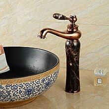 KHSKX Heiße Und Kalte Dusche Continental Natürliche Jade Sitzbank Becken Heiße Und Kalte Cu Alle Amerikanischen Kunst Marmor Waschtisch Armatur, Antike
