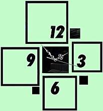 KHSKX Home Dekoration, Wanduhr DIY Stereo-Spiegel, Dekorationsartikel, Spiegel Wandsticker, Wanduhr , black