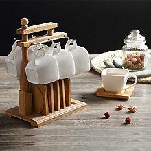 KHSKX Kaffee Tasse und Untertasse Sets mit Holz Regal mit einfachen, weißen Porzellan Untertasse home Besuch am Nachmittag Kaffee Tee Set aus Keramik