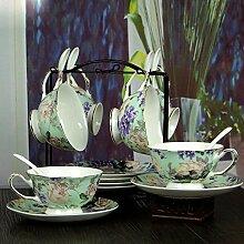 KHSKX-Keramik - Kaffee Tasse Europäischen Tag 6 Setzt Kreative Bone China Kaffee Garten Mit Regal Stellen,Ich