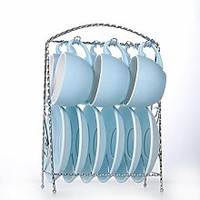 KHSKX-Kreative Farbe Garland Kaffeetasse Schüssel Löffel Regal Europäischen Kaffee Tasse Set Hochwertiger Keramik - Tasse Und Untertasse,M