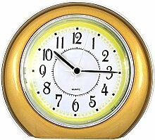 KHSKX Kreative Gold kleine Wecker, am Krankenbett Uhr der Studenten, ruhige runden Tisch, Schlafzimmer dreidimensionale faul Uhr , gold