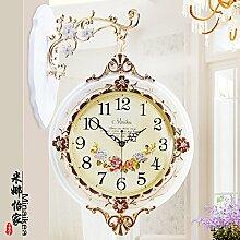 KHSKX Kreative Königin retro garten kunst clock clock clock clock Doppelseitig, Weiß