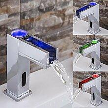 KHSKX LED-beleuchteten Wasserfall Armatur Wasserhahn Kupfer Waschbecken mit warmen und kalten Wasserhahn sensor