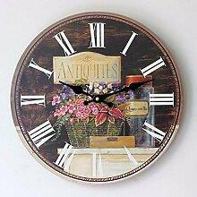 KHSKX Massivholz Startseite Wanduhr Wanduhr retro wall clock clock