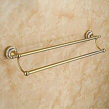 KHSKX Messing verchromt Doppel Handtuchhalter, europäisch anmutende Handtuch Rack, blau und weiß Porzellan gold Bad-Accessoires , gold