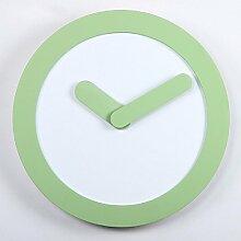 KHSKX Mode Runde Wanduhr Moderne, minimalistische Office Massivholz Wohnzimmer Uhren Wecker Wandtafeln, eleganten grünen