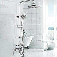 KHSKX Modernes Haus Bad Kupfer-Armatur multifunktionale Handbrause kreisförmige Dusche Kit heben