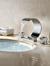 khskx modernes Wasser Messing zwei Griffe Deck montieren Wasserfall Waschbecken Wasserhahn Chrom-Finish
