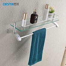 KHSKX Platz Einzel Aluminium Glas Regal mit Handtuchhalter Handtuchhalter Badezimmer Zubehör