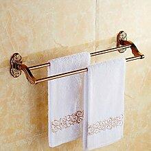KHSKX Rosa-gold Handtuchhalter continental antiken Doppelbett Badezimmer accessoires badezimmer Handtuchhalter Stil Badezimmer Handtuchhalter 610*140mm
