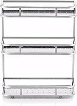 KHSKX rostfreier stahl in drei schichten im regal, runde ecke schicht regal, geländer, etage küche rack,500 × 150 × 520mm