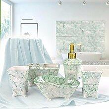 KHSKX Sanitärkeramik Marmor Badezimmer-Set, Bad Hotel europäischen waschen Set, Badezimmer Accessoires Zahnbürste Halter Kombination,A