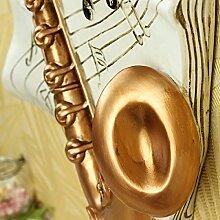 KHSKX Saxophon Musikinstrumente Musikinstrumente Wanduhr retro Kunst Persönlichkeiten stummgeschaltet Art Deco Tisch fashion style Creative crack Wirkung