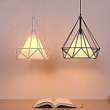 KHSKX Schmiedeeisernen Kronleuchtern und einfache kreative Schlafzimmer einzelne Stirnlampe LED Pyramide Käfig American-Lampe , Black