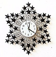 KHSKX Uhr Zeichnung-Zimmer im europäischen Stil, Uhren und Eisen eingelegten Wanduhr Ultra Quiet Persönlichkeit und kreative Wandtafeln Garten Tisch,B