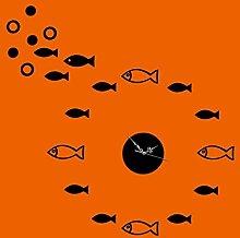 KHSKX Wand Uhr DIY Mode, dreidimensionale 3D-Fische Wanduhr Aufkleber Wand, Wohnzimmer TV Hintergrund Wand Spiegel Wanduhr , black