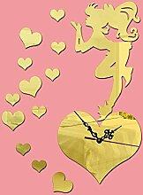 KHSKX Wanduhr DIY Mode, Fee Herz dekorative Wanduhr Spiegel weht, stilvollen Acryl Hintergrund verziert die Wohnzimmer Wanduhr , Golden