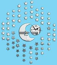 KHSKX Wanduhr DIY Mode Wand Aufkleber, 3D Sterne Mond Spiegel Wand Uhr freie Kombination Wandsticker, kreative Wohnzimmer Wand-Sticker , Silver