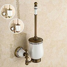 KHSKX WC-Bürstenhalter,Europäischen Kupfer Vintage Glas Antik Keramik Bad Hardware Bad-Accessoires der Toilette WC Bürste zu reinigen , 1