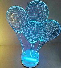KHSKXromantisches geschenk led3d lampe nachtlicht, stecker, radio, stereo - schlafzimmer mit lampe,b